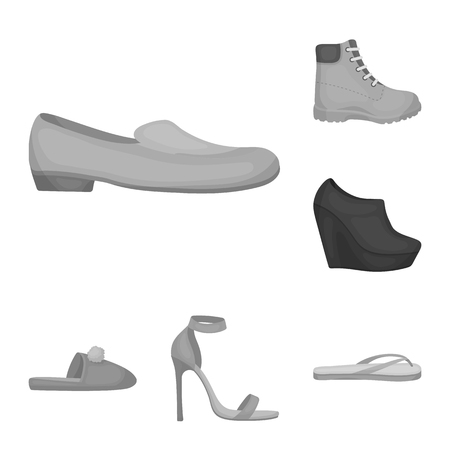 A variety of shoes monochrome icons in set collection for design. Boot, sneakers vector symbol stock web illustration. 版權商用圖片 - 99884779