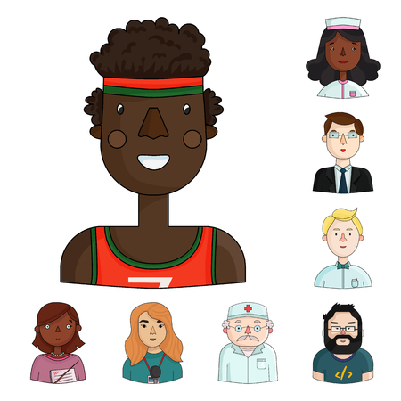 People of different professions cartoon icons in set collection for design. Worker and specialist vector symbol stock  illustration. Vettoriali