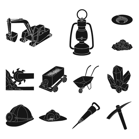 Mining industry black icons in set collection for design. Equipment and tools vector symbol stock web illustration. Ilustracja