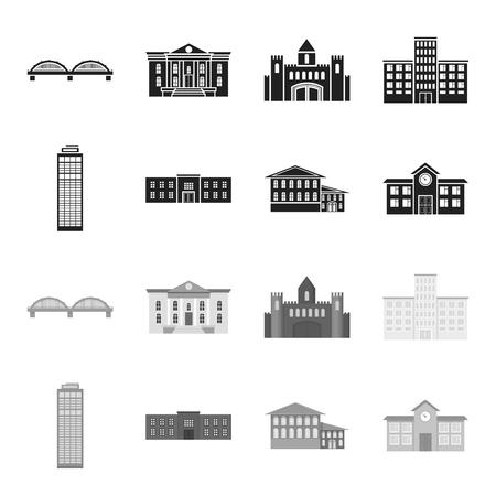 Skyscraper, police, hotel, school.Building set collection icons in black,monochrome style vector symbol stock illustration .