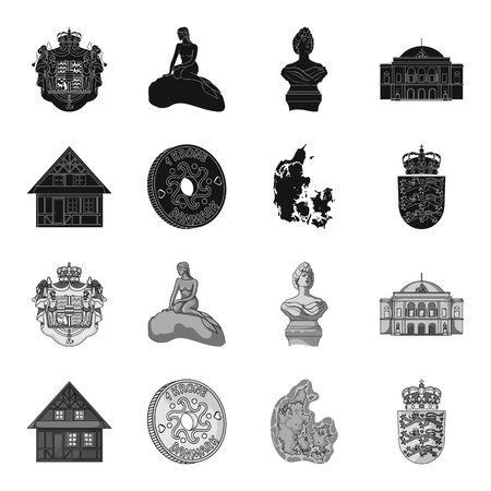 House, residential, style, and other web icon in black,monochrome style. Country, Denmark, sea, icons in set collection. Illusztráció