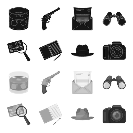 Camera, magnifier, hat, notebook with pen.Detective set collection icons in black,monochrome style vector symbol stock illustration web. Ilustracja