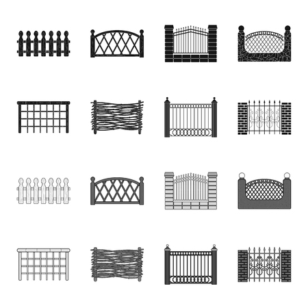 A fence of metal and bricks,wooden palisade. A different fence set collection icons in black,monochrome style vector symbol stock illustration web. Illustration