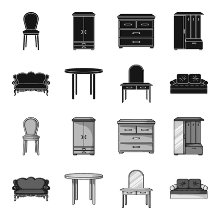 Furniture and home interior set collection icons in black,monochrome style vector symbol stock illustration