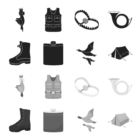 Flying ducks, flask, boots, tent..Hunting set collection icons in black,monochrome style vector symbol stock illustration web. Illusztráció