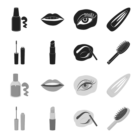 Mascara, hairbrush, lipstick, eyebrow pencil,Makeup set collection icons in black,monochrome style vector symbol stock illustration web.