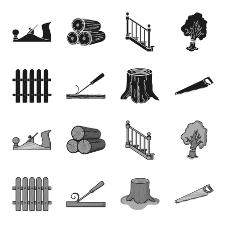 Fence, chisel, stump, hacksaw for wood. Lumber and timber set collection icons in black,monochrome style vector symbol stock illustration web. Stock Illustratie