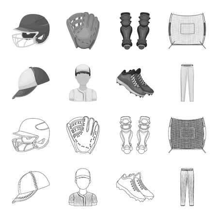 Baseball cap, player and other accessories. Baseball set collection icons in outline,monochrome style vector symbol stock illustration web. Illustration