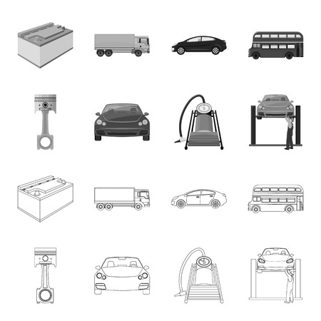 Car on lift, piston and pump outline,monochrome icons in set collection for design.Car maintenance station vector symbol stock illustration web. Vectores