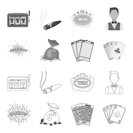 Jack sweat, a bag with money won, cards for playing Bingo, playing cards. Casino and gambling set collection icons in outline,monochrome style vector symbol stock illustration web.