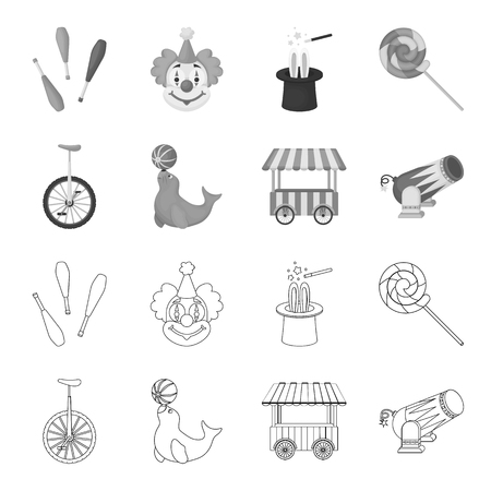 Lollipop, trained seal, snack on wheels, monocycle.Circus set collection icons in outline,monochrome style vector symbol stock illustration web.