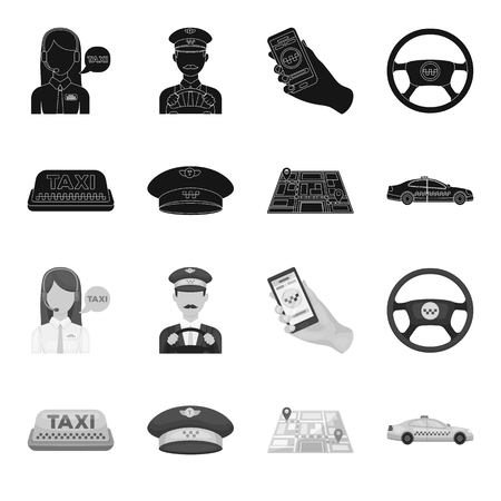 Yellow taxi inscription, a cap with a taxi badge, a map with a mark, a car with checkers. Taxi set collection icons in black,monochrome style vector symbol stock illustration web.