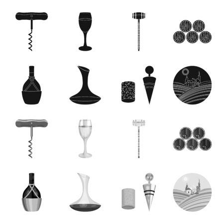 Una botella de vino en una cesta, un gafine, un sacacorchos con un corcho, un valle de uvas. Producción de vino set iconos de colección en negro, monocromo estilo vector símbolo stock ilustración web. Foto de archivo - 99845535