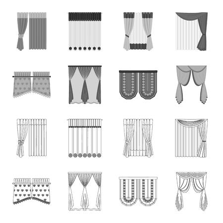 Curtains, stick, cornices, and other web icon in outline,monochrome style.Bow, fabric, tulle icons in set collection.