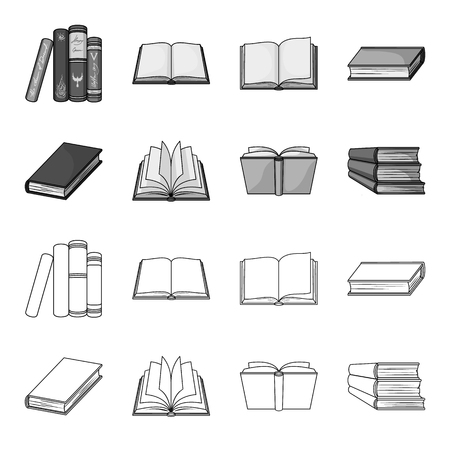 Various kinds of books. Books set collection icons in outline,monochrome style vector symbol stock illustration web.