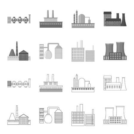 Industry, production factory set collection icons in outline, monochrome style vector symbol stock illustration web.