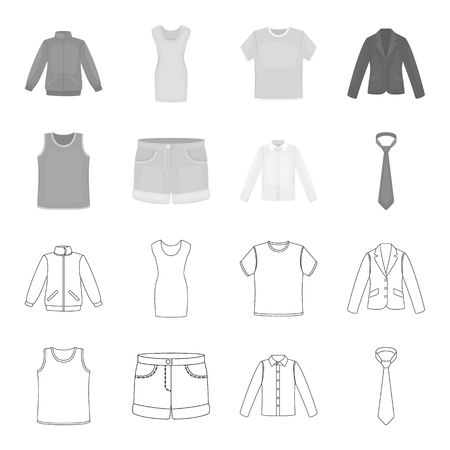 Shirt with long sleeves, shorts, T-shirt, tie.Clothing set collection icons in outline,monochrome style vector symbol stock illustration web.