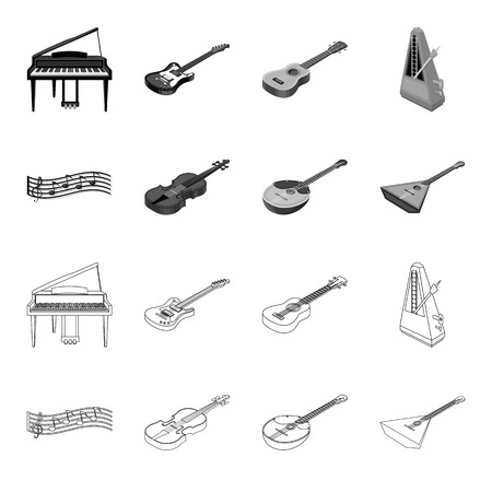 Musical instrument outline,monochrome icons in set collection for design. String and Wind instrument isometric vector symbol stock web illustration.