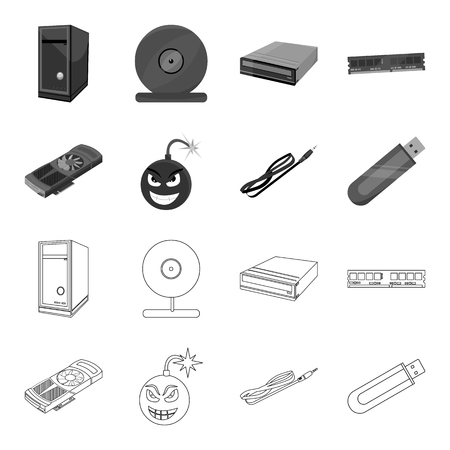 Video card, virus, flash drive, cable. Personal computer set collection icons in outline,monochrome style vector symbol stock illustration web.