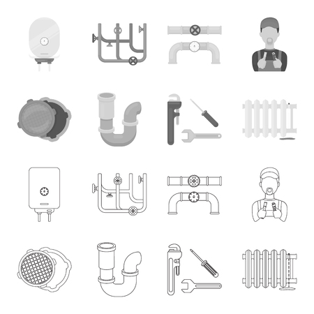 Sewage hatch, tool, radiator.Plumbing set collection icons in outline,monochrome style vector symbol stock illustration web.
