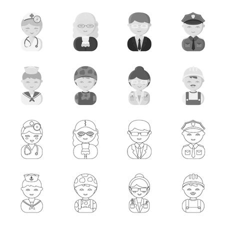 Sailor, soldier, scientist, builder.Profession set collection icons in outline,monochrome style vector symbol stock illustration web. Çizim