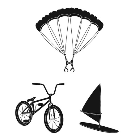 Extreme sport black icons in set collection for design. Different kinds of sports vector symbol stock web illustration. 矢量图像