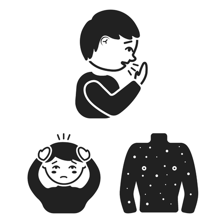 The sick man black icons in set collection for design.Illness and treatment vector symbol stock  illustration. Ilustracja