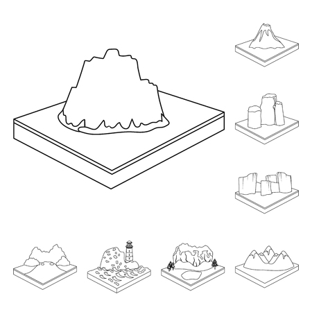 Mountains, massive outline icons in set collection for design. The surface of the earth vector isometric symbol stock web illustration. Foto de archivo - 100034595