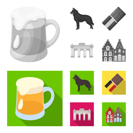 Chocolate, cathedral and other symbols of the country.Belgium set collection icons in monochrome,flat style vector symbol stock illustration web.