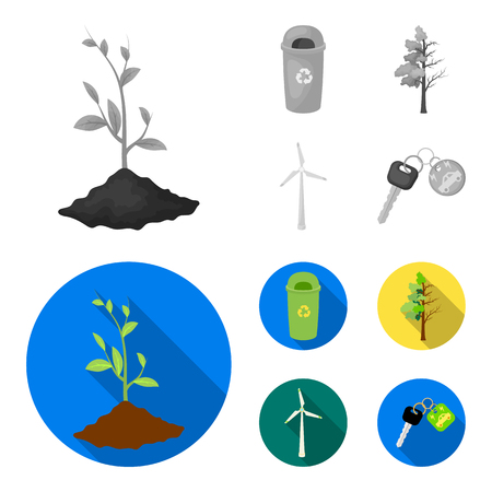 A garbage can with a wind turbine flat style vector symbol stock illustration web. Illustration