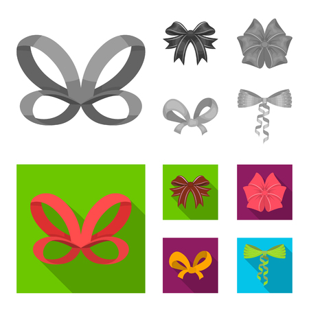 Bow, ribbon, decoration, and other web icon in monochrome,flat style. Gift, bows, node, icons in set collection.