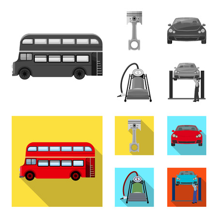Car on lift, piston and pump monochrome, flat icons in set collection for design. Car maintenance station vector symbol stock illustration web.