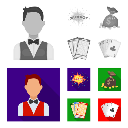 Jack sweat, a bag with money won, cards for playing Bingo, playing cards. Casino and gambling set collection icons in monochrome, flat style vector symbol stock illustration web.