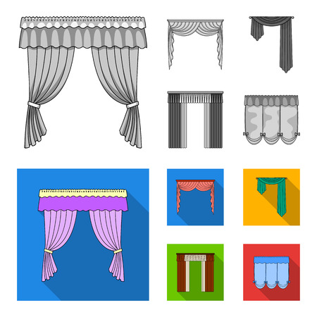 Different types of window curtains. Curtains set collection icons in monochrome, flat style vector symbol stock illustration web.