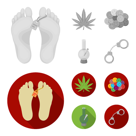 Hemp leaf, ecstasy pill, handcuffs, bong. Drug set collection icons in monochrome, flat style vector symbol stock illustration web.