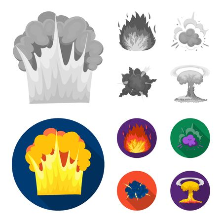Flame, sparks, hydrogen fragments, atomic or gas explosion. Explosions set collection icons in monochrome, flat style vector symbol stock illustration web.