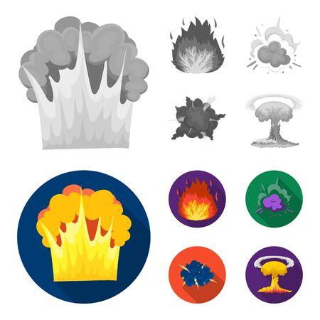 Flamme, étincelles, fragments d'hydrogène, explosion atomique ou gazeuse. Explosions définies icônes de collection en monochrome, style plat vecteur symbole stock illustration web.