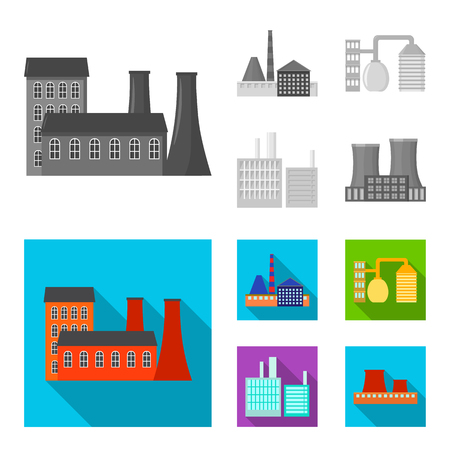 Industry, production. Factory set collection icons in monochrome, flat style vector symbol stock illustration web.