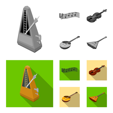 Musical instrument monochrome,flat icons in set collection for design. String and Wind instrument isometric vector symbol stock  illustration.