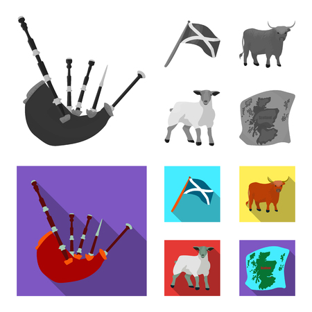 The state flag of Andreev, Scotland, the bull, the sheep, the map of Scotland. Scotland set collection icons in monochrome, and colored flat style vector symbol stock illustration . Çizim