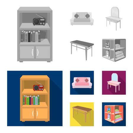 Soft sofa, toilet make-up table, dining table, shelving for laundry and detergent. Furniture and interior set collection icons in monochrome, flat style isometric vector symbol stock illustration.