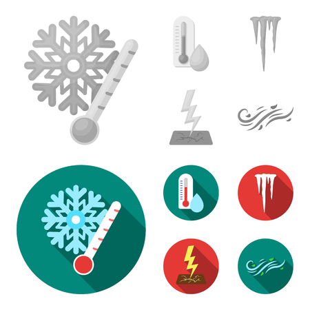 Humidity, icicles, thunderbolt, windy weather. Weather set collection icons in monochrome,flat style vector symbol stock illustration . 일러스트
