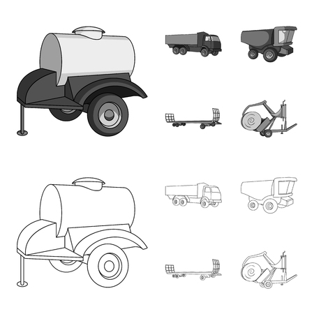 Trailer with a barrel, truck and other agricultural devices. Agricultural machinery set collection icons in outline,monochrome style vector symbol stock illustration .