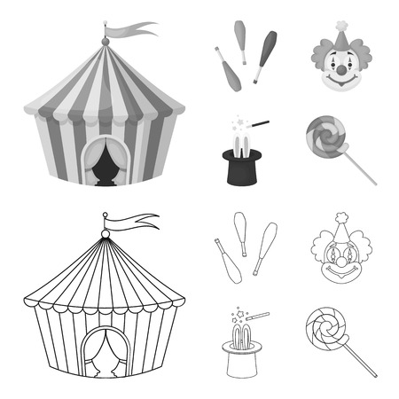 Circus tent, juggler maces, clown and magician hat. Circus set collection icons in outline, monochrome style vector symbol stock illustration .