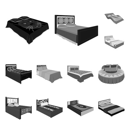Different beds monochrome icons in set collection for design. Furniture for sleeping vector isometric symbol stock web illustration.