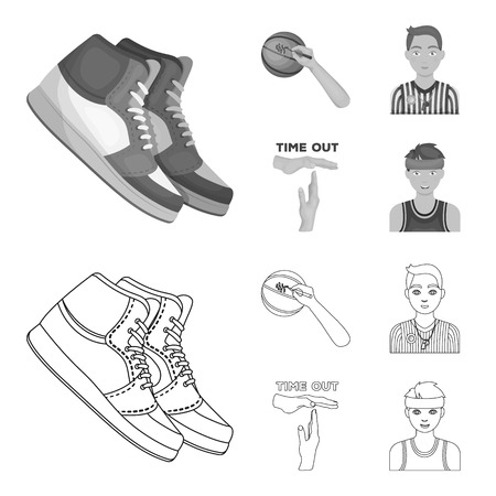 Basketball and attributes outline, monochrome icons in set collection for design. Basketball player and equipment vector symbol stock web illustration.