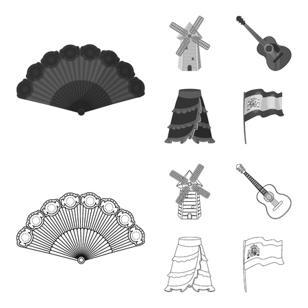 Fan Spanish, mill, guitar, skirt for national Spanish dances. Spain country set collection icons in outline, monochrome style vector symbol stock illustration web.
