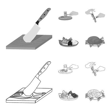 Coutelas sur une planche à découper, marteau pour les côtelettes, cuisson du bacon, manger du poisson et des légumes. Manger et cuisiner définir des icônes de collection dans les grandes lignes, illustration stock de symbole de vecteur de style monochrome.
