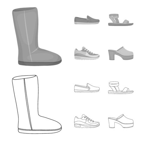 Beige boots with fur, brown loafers with a white sole, sandals with a fastener, white and blue sneakers. Shoes set collection icons in outline, monochrome style vector symbol stock illustration web.