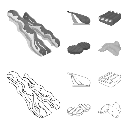 Bacon, jamon, pork ribs, fried cutlets. Meat set collection icons in outline, monochrome style vector symbol stock illustration web.